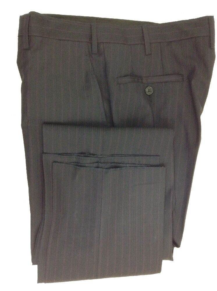 VERSACE Collection Fitted Navy Multi Striped Flat Front Dress Pants W35 R