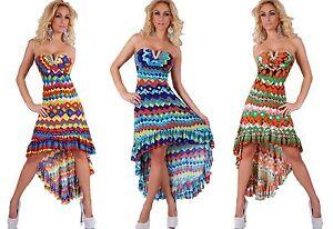 Vestito-donna-abito-asimmetrico-Multicolore-scollo-cuore-strass-nuovo