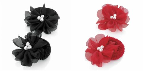 1 PAIR FLOWER HAIR PONIO WITH PEARL CENTRE IN RED OR BLACK