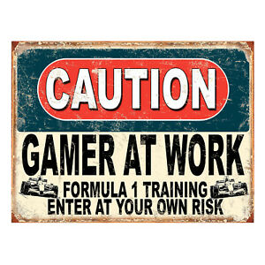 Caution Angry Gamer Formula 1 Training, funny retro metal sign novelty Gift