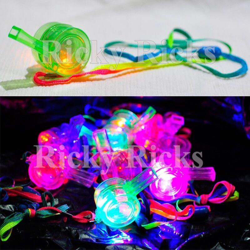 100 PCS Light Up Whistles LED Flashing Blinking Favors Rave Lanyard Whistle EDC
