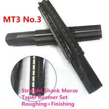 New 2pc Mt3 No3 Straight Shank Morse Taper Reamer Set Rough Fine Reamer Usa