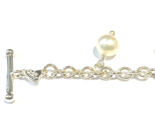 """SOLID 100/% REAL Sterling Silver Pearl Charm Love Health Happy Chain Bracelet 7/"""""""