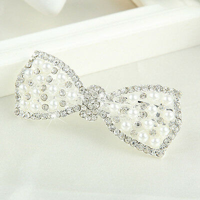 Womens Girls Crystal Bow Hair Clip Hairpin Barrette Pearl Head Ornaments Beauty