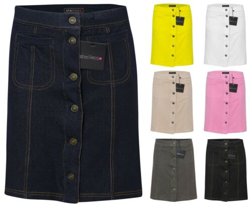 New Womens Ladies Mini Denim Party Front Button Casual Skirt UK 6-12