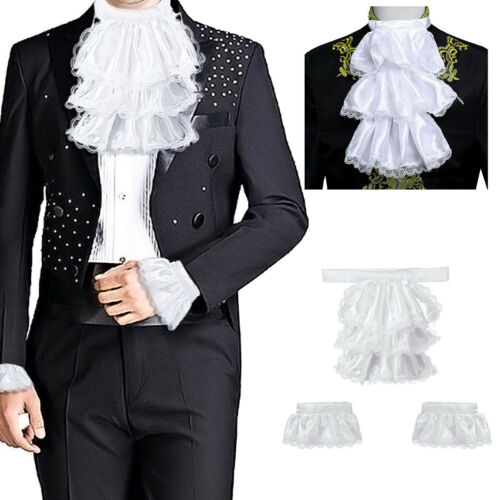 2Set Victorian Detachable Jabot Collar/&Cuffs Lace Layered Satin Colonial Costume