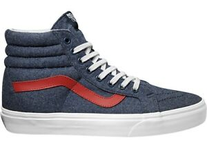33db9e17456060 Vans ANKLE SHOE TRAINERS SPORTS SHOES BLAU Sk8-Hi Reissue VA Textile ...
