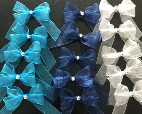 15 Small 3.5cm  Blue /& Silver Mix Organza Bows With Silver Pearl Rhinestone