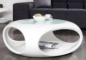 Détails sur Table Basse Moderne Rond Blanc Haute Brillance de Salon Rétro  Verre