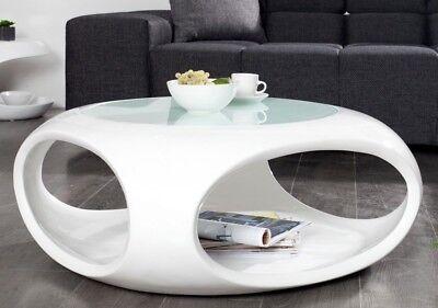 Couchtisch modern rund weiß hochglanz Wohnzimmertisch Retro ...
