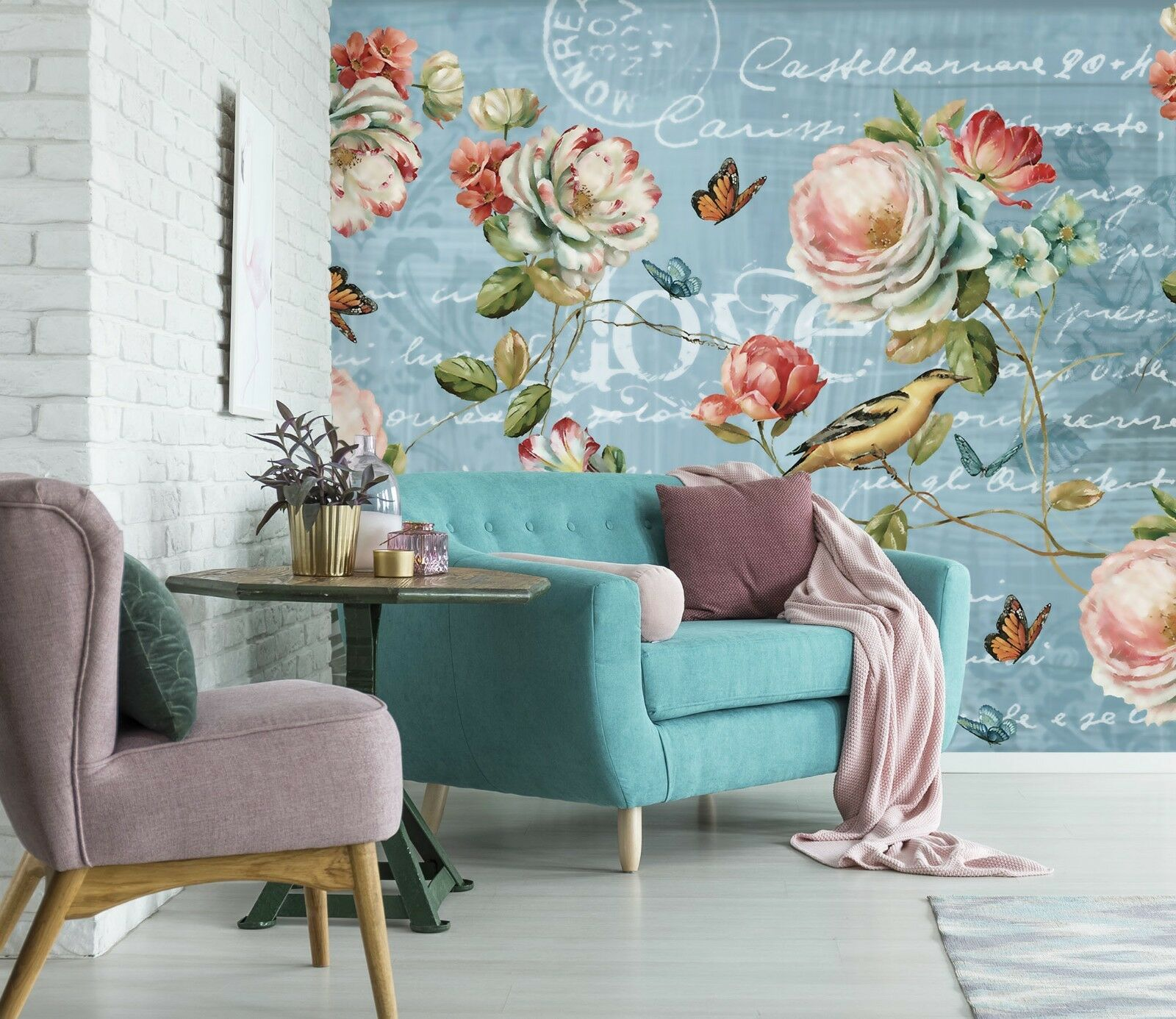 3D Rose Butterfly Blau 44 Wall Paper Wall Print Decal Wall Deco Indoor Murals