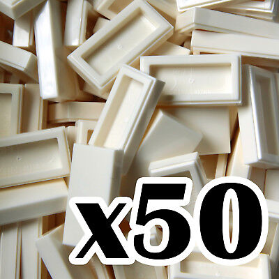 1 x 2 TILES NEW LEGO White tile x 50-1x2 smooth flat tiled