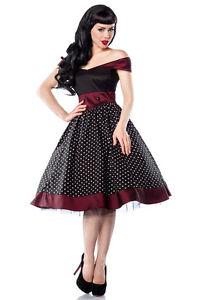 Hochwertiges-Kleid-Rockabilly-Style-Polka-Dots-schwarz-burgunderrot-Carmen-Gr-XL