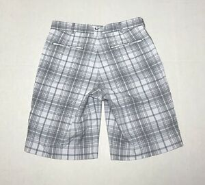 Nike-Golf-Mens-32-Tour-Performance-Dri-Fit-Shorts-White-Gray-Plaid-Flat-Front
