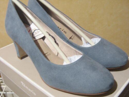 Tamaris Pale Blue Faux Suede Special Occasion Court Shoe Wedding Mother of Bride