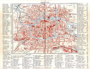 1890 Poland Wroclaw Breslau City Plan Antique Map Ebay