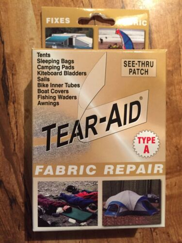 New in Box Tear Aid voir à travers tissu Patch De Réparation Tentes Voiles Tentes Sac de couchage