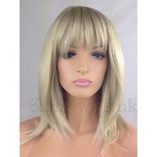 Womens Trendy Shoulder Length Blonde Wig Red Highlights Ebay