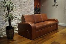 Braun Echtleder Rindsleder 3 Sitzer Sofa Couch Schlaf Funktion 100% Echt Leder