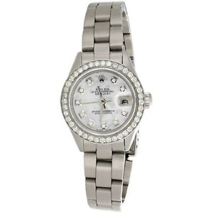 Ladies-Rolex-DateJust-Diamond-Watch-Oyster-Perpetual-Steel-6917-MOP-Dial-1-CT