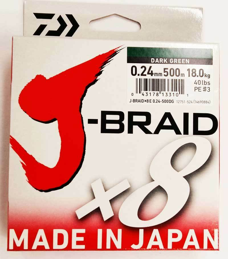 DAIWA J BRAID X8 0,24MM 500MT DARK GREEN (green SCURO)