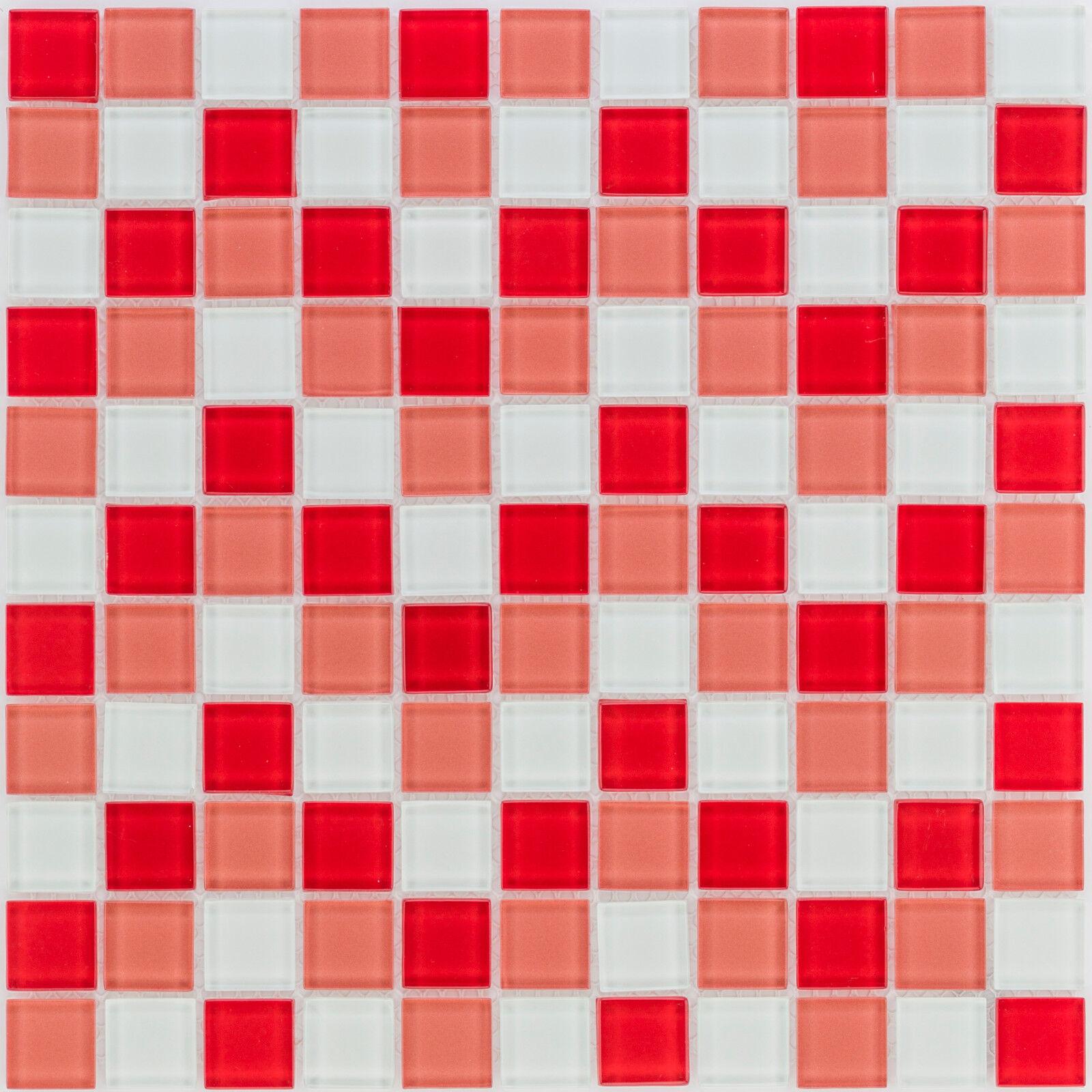 Glasmosaik Fliesen rot weiß Wand Dusche WC Küche  10 Matten  ES-53216 _f