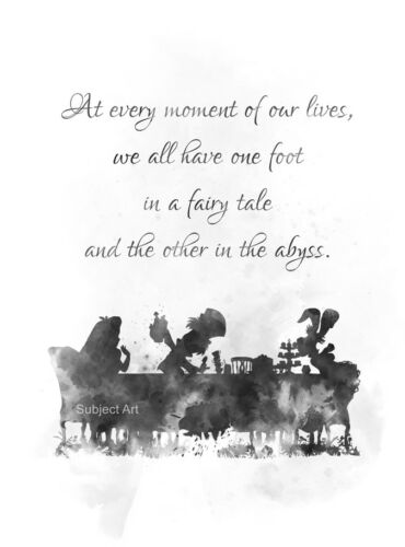 B /& W Mad Hatter ART PRINT Alice In Wonderland Tea Party Quote Gift Decor