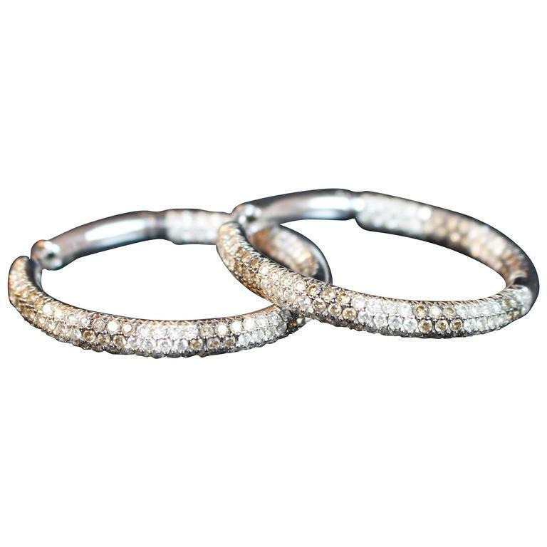 CRISTINA FERRARE White and Chocolate Diamond Hoop Earrings