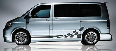 Fits Volkswagen Transporter T5 T6 Twin Bonnet Tailgate Stripe Decal Stickers Set