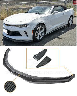 EOS T6 Style Carbon Fiber Add On Front Bumper Lower Lip Splitter FLIP-167-BKCF Extreme Online Store Replacement for 2016-2018 Chevrolet Camaro RS