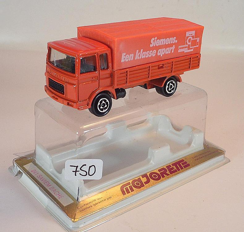 Majorette 1 100 No. 241 Saviem Lorry Flatbed Tarpaulin Siemens Red OVP