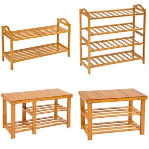 Holz-Schuhregal-mit-oder-ohne-Sitzbank-Schuh-Bambus-Schuhschrank-Schuhstaender