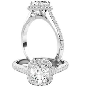 0.90 Ct Cushion Cut Moissanite Engagement Rings 18K Solid White Gold Size 7.5