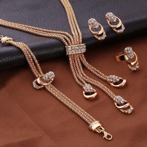 18K-Gold-Set-Tassel-Earrings-Bracelet-Jewelry-Plated-Crystal-Ring-Necklace-JZ