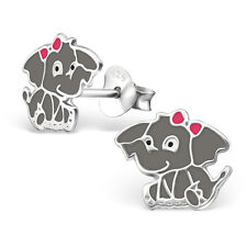 New Girls Ladies 925 Sterling Silver Cute Elephant Logo Stud Earrings Boxed