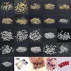 1000 Pcs 3D Design Nail Art Decoration Stickers Metallic Studs Silver Gold Rivet