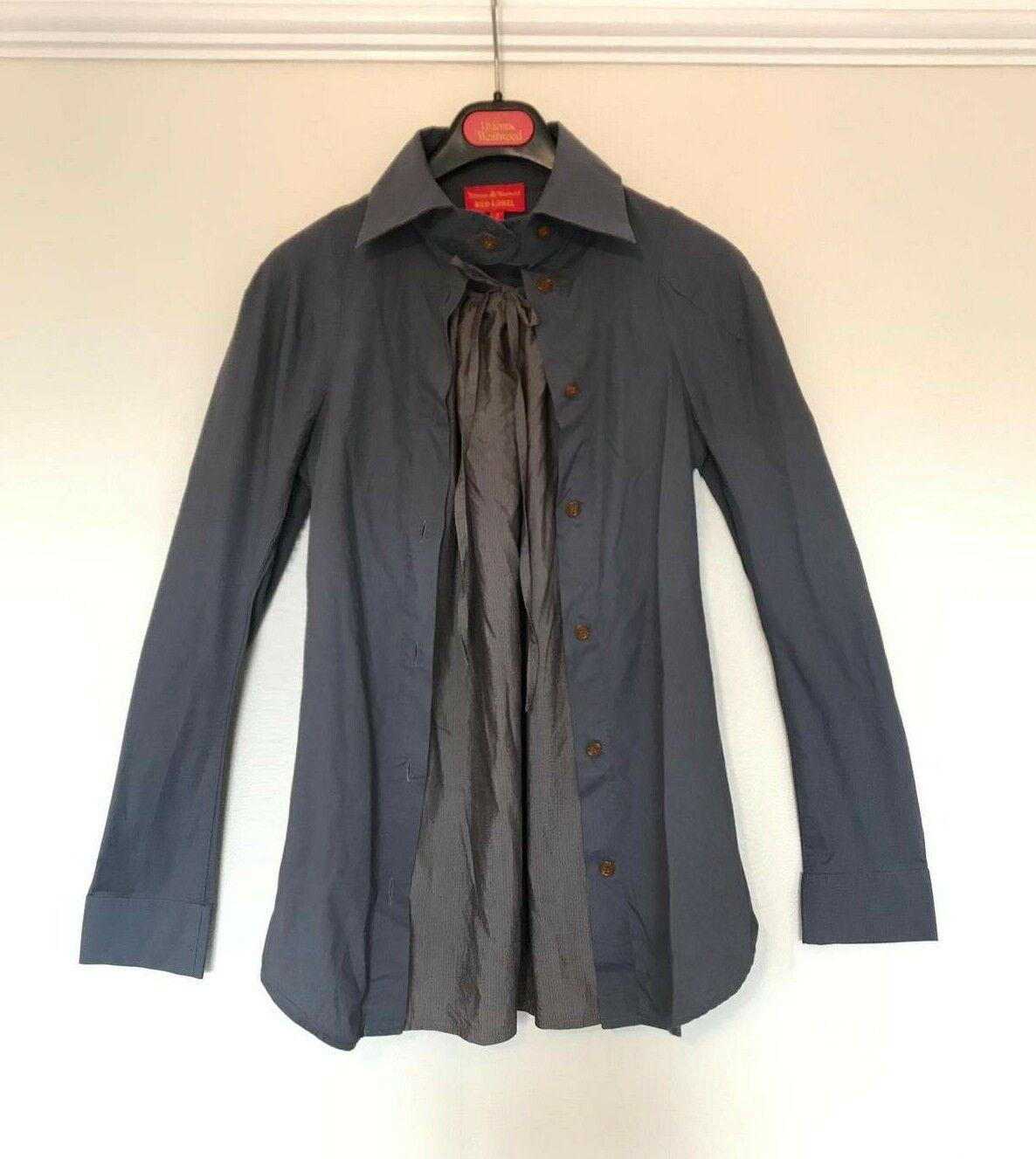 Vivienne Westwood rot Label navy Blau high collar shirt+built-in grau vest 10 12