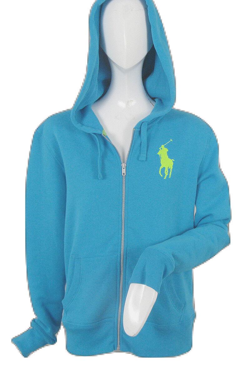 Nouveau  165 Polo Ralph Lauren Big Pony Sweat à Capuche Sweat  Bleu, Blanc, Jaune Fluo