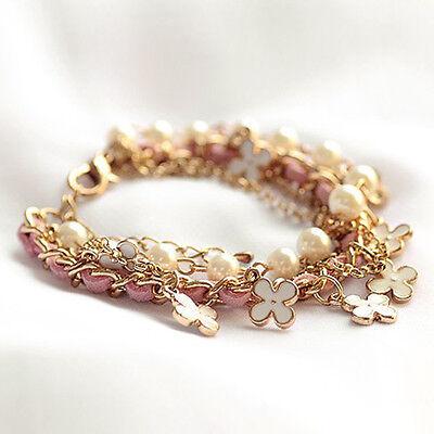 1pc Womens Luxury Fashion Four Leaf Leather Rope Pearl Bracelet Jewelry