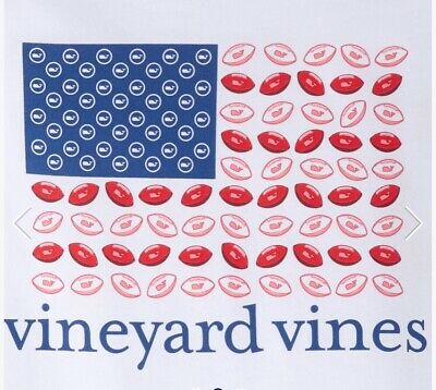 Vineyard Vines Shirt Youth Small Pink Green Football Pocket Tee Preppy Kid Girl