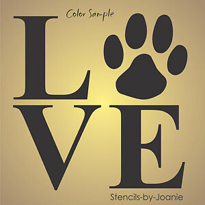 Stencil love paw print animal pet dog cat puppy country prim cabin