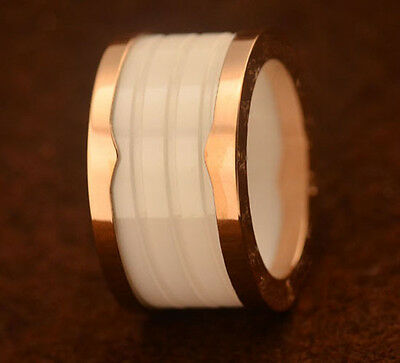 Rose Gold Plated White Ceramics Rings Unisex Wedding Party Band Size5-10
