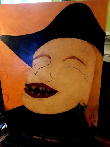 Original Leather Puerto Rican Artist Frank Diaz Escalet 18x24 1976 RARE /& NICE!