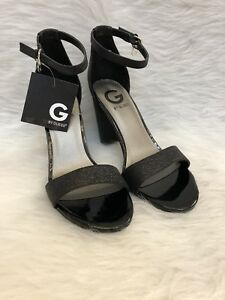 G-By-Guess-New-Womens-Shantel-Black-Peep-Toe-Block-Glitter-Heels-Shoes-Size-10-M