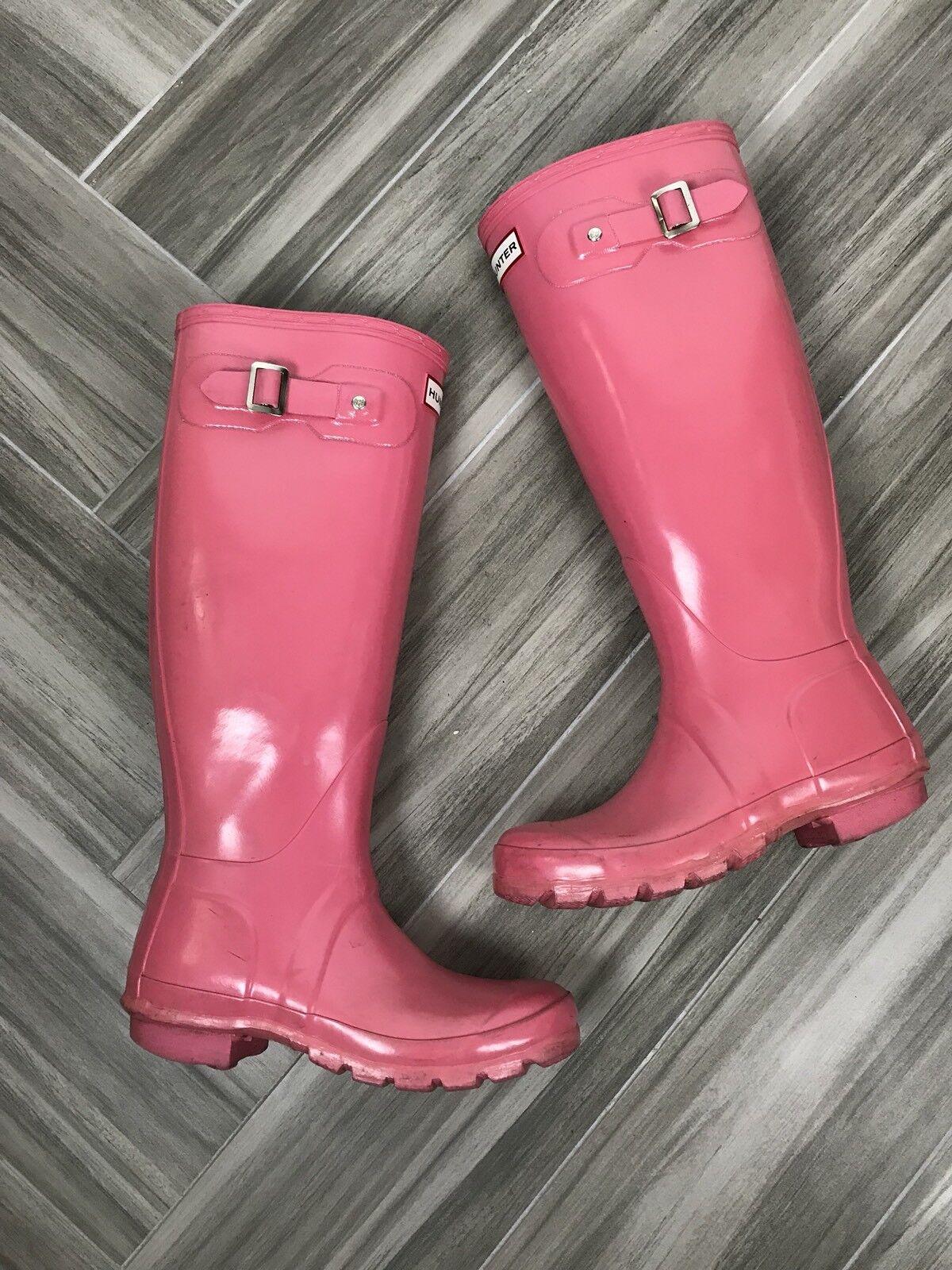 Hunter Original Gloss Tall Rain Stiefel Größe 5 Pink Casual Winter Waterproof
