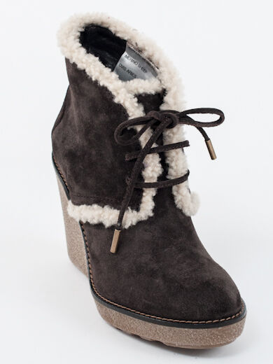New  Moncler Brown Suede Merino Fur Booties Size 37  US 7