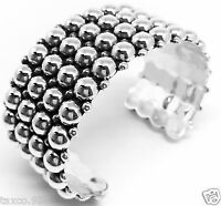 VINTAGE DESIGN TAXCO MEXICAN STERLING SILVER BEADED BEAD CUFF BRACELET MEXICO