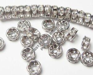 50-Glas-Strasssteine-8mm-Rondell-Spacer-Perlen-Metallperlen-Klar-Silber-R25A