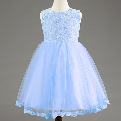 Baby Kid Girl Princess Lace Flower Bow Party Christening Occasion Wedding Dress