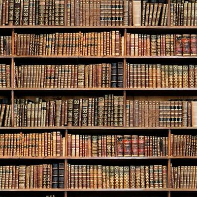 4m Vintage Library Book Photo Digital Printed Designer Curtain Upholstery Fabric